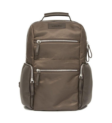 BACKPACK IN LEATHER AND FABRIC