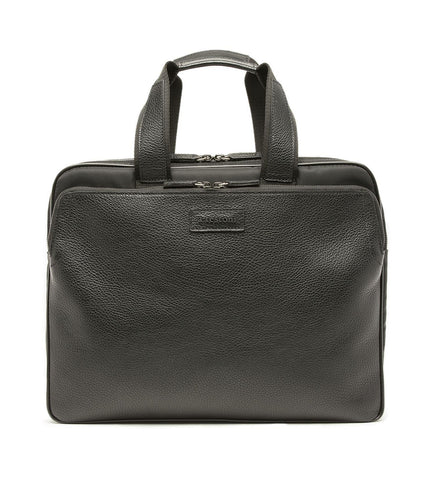 LAPTOP BAG IN LEATHER AND FABRIC