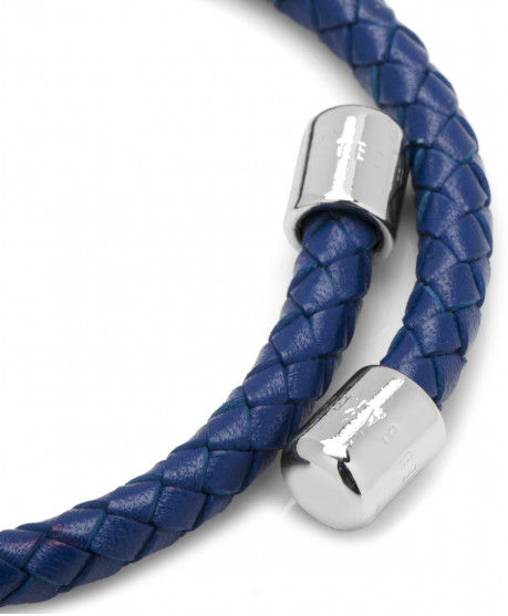 BASSETT WOVEN BLUE LEATHER BRACELET,BRACELET,CUFFLINKS, | GentRow.com