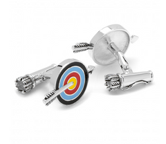 STERLING SILVER ARROW AND BULLSEYE CUFFLINKS,CUFFLINKS,CUFFLINKS, | GentRow.com