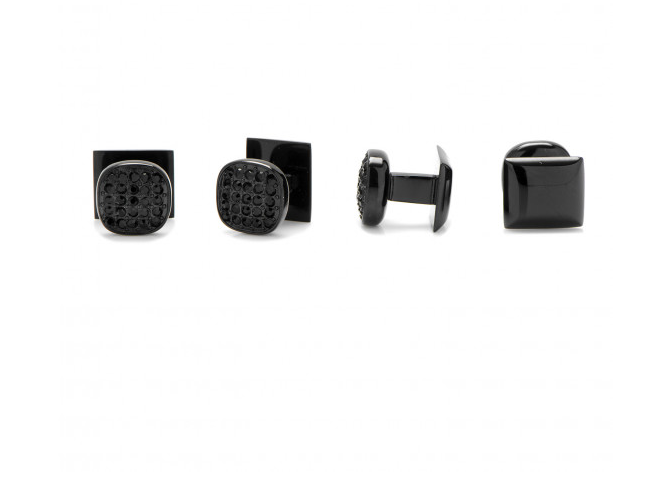 BLACK STAINLESS STEEL BLACK PAVE CRYSTAL STUDS,CUFFLINKS,CUFFLINKS, | GentRow.com