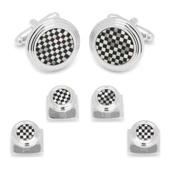 Onyx and Mother of Pearl Checker Stud Set,Stud Sets,GentRow.com, | GentRow.com