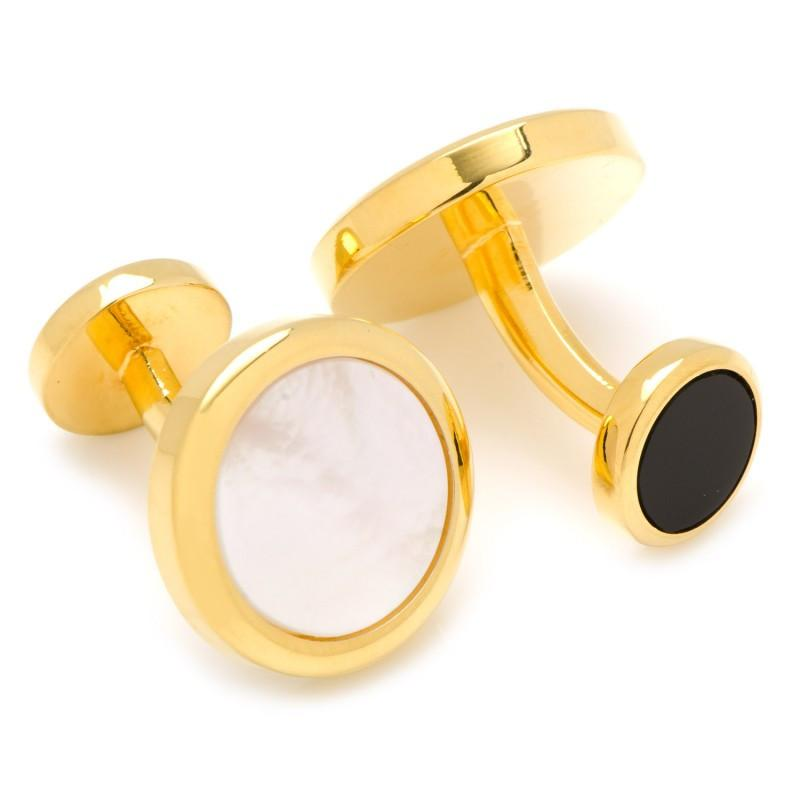 Double Sided Gold Mother of Pearl Round Beveled Stud Set,Stud Sets,GentRow.com, | GentRow.com
