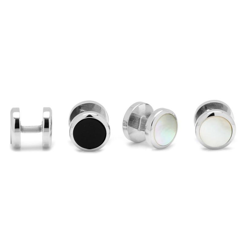 Double Sided Onyx Round Beveled Stud Set,Stud Sets,GentRow.com, | GentRow.com