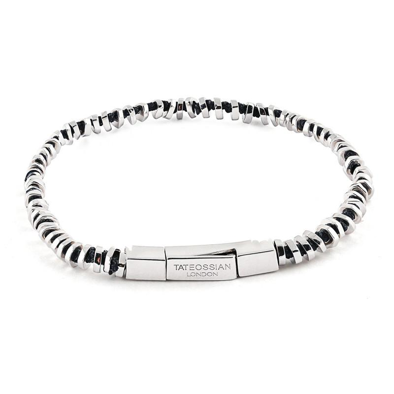 Sterling Mini Click Bead Bracelet with Black Knots (18CM),BRACELET,GentRow.com, | GentRow.com