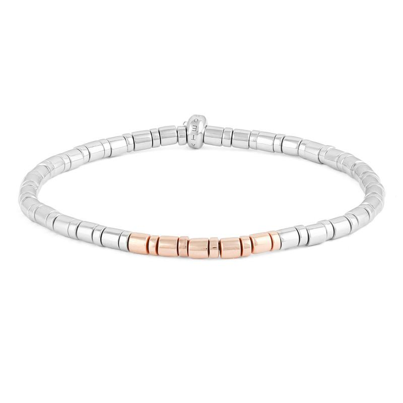 Sterling Silver and Rose Gold Bamboo Weave Bracelet (17.5CM),BRACELET,GentRow.com, | GentRow.com