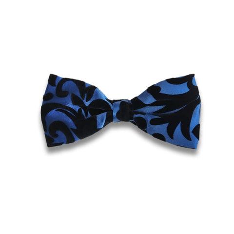 Black and blue silk and velvet bow tie 417653-4 Mod. D001