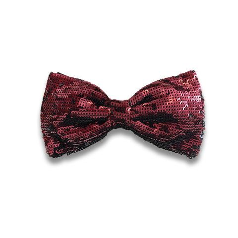 Black silk bow tie with bordeaux sequins Mod. RD087 vr 8