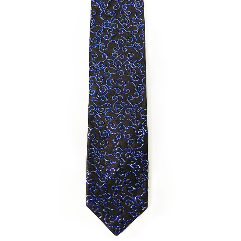 Black silk sartorial tie with strass color decoration Sapphire 206 S031 18007-12