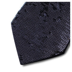 Black silk tie lined with black sequins 18007-12 Mod. R003 var 1