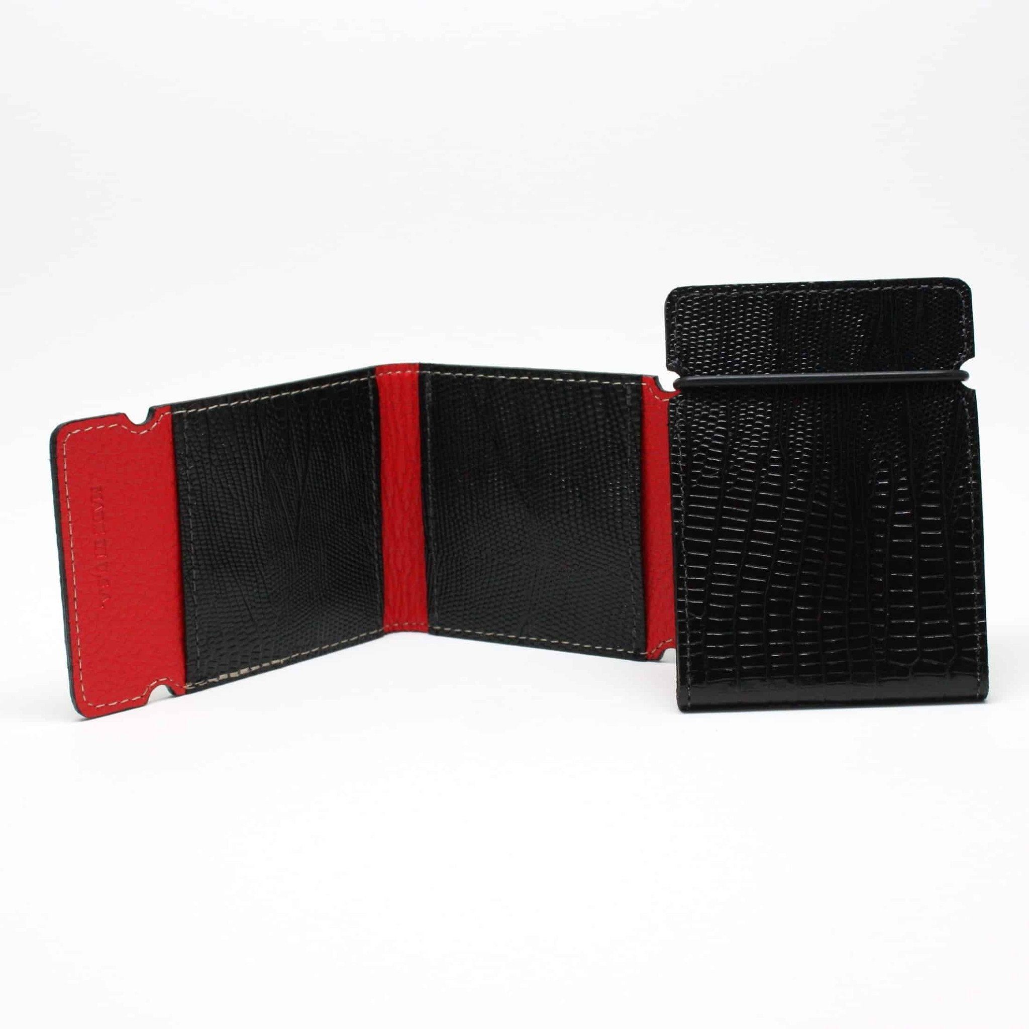 Embossed Lizard Calfskin Cash Cover - Black,WALLETS,GentRow.com, | GentRow.com