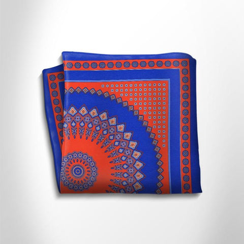 Blue and orange patterned silk pocket square