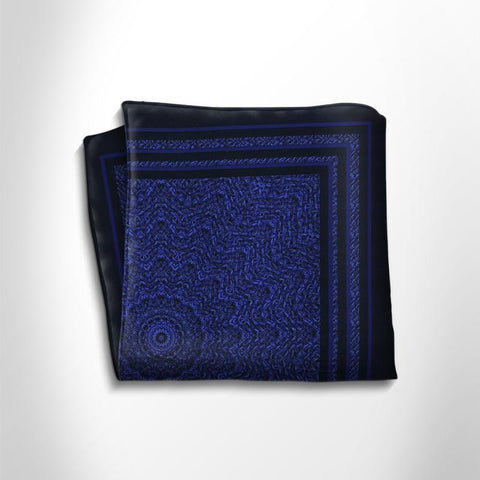 Blue and black patterned silk pocket square