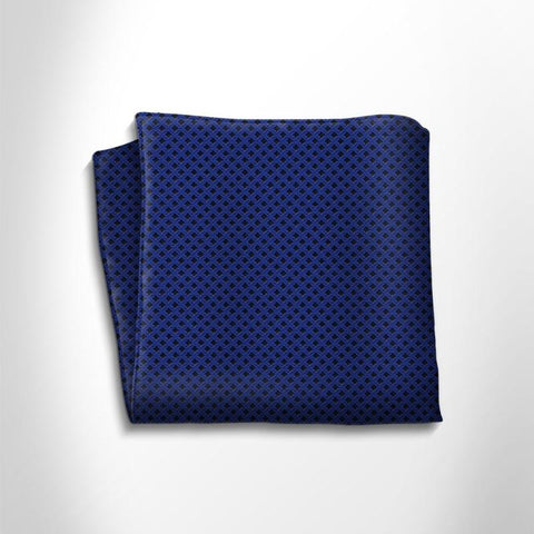Blue and black polka dot silk pocket square