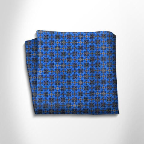 Blue and brown patterned silk pocket square