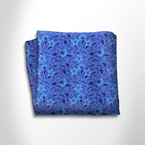 Blue and sky blue floral patterned silk pocket square