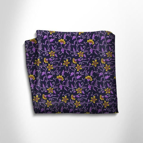 Blue and violet floral patterned silk pocket square