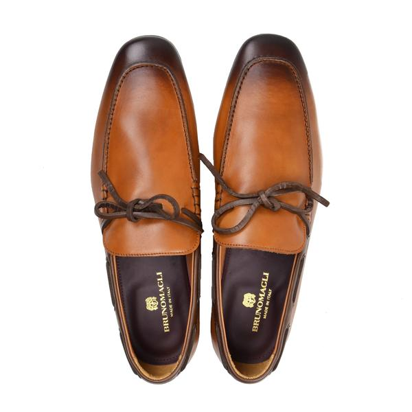 MIMO LEATHER SLIP-ON MOCCASIN - COGNAC/DARK BROWN