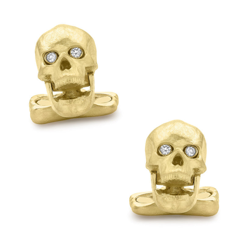 18K Yellow Gold Skull Cufflinks with Popping Diamond Eyes,CUFFLINKS,GentRow.com, | GentRow.com