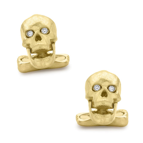 18K Yellow Gold Skull Cufflinks with Popping Diamond Eyes