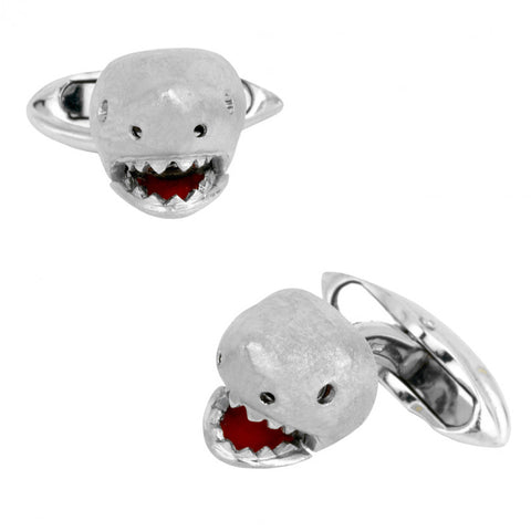 18K White Gold Shark Cufflinks with Moving Jaw