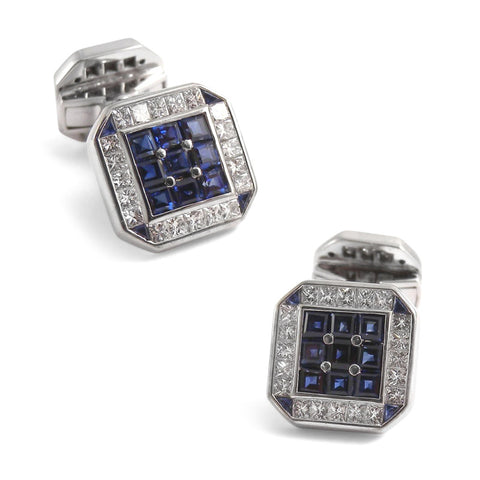 18K White Gold Square Cufflinks with Diamonds & Sapphires