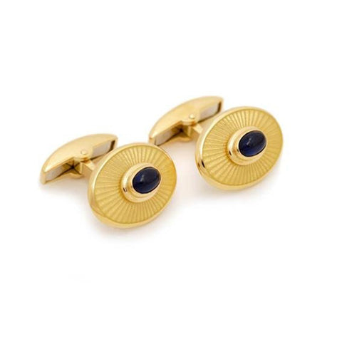 18K Gold Oval Cufflinks with Sapphire Center