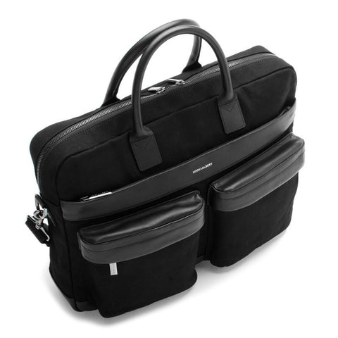 Black Canvas and Leather Briefcase Bag