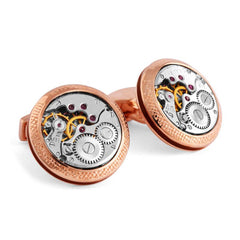 Rose Gold Plated Silver Vintage Skeleton Movement Cufflinks,CUFFLINKS,TATEOSSIAN, | GentRow.com