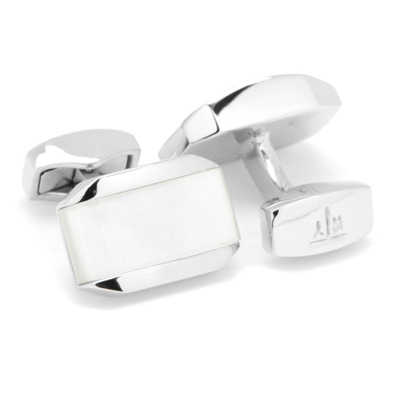 Tonneau White Mother of Pearl Cufflinks,CUFFLINKS,GentRow.com, | GentRow.com