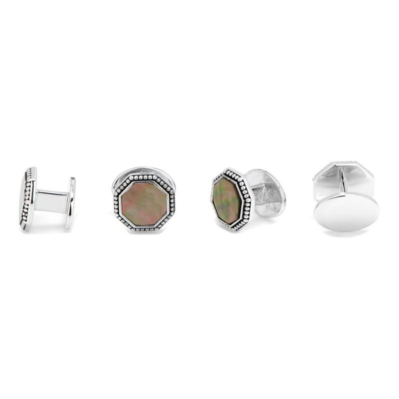 Gray Mother of Pearl Octagon with Antique Border Stud Set,Stud Sets,GentRow.com, | GentRow.com