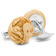 Woolly Mammoth Tusk Octopus with Ruby Eyes Cufflinks,CUFFLINKS,GentRow.com, | GentRow.com