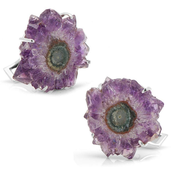 Amethyst Stalactite & Sterling Silver Cufflinks