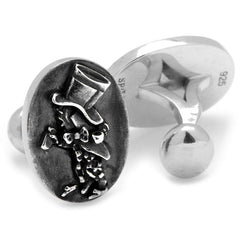 Alice in Wonderland Sterling Silver The Hatter Cufflinks,CUFFLINKS,GentRow.com, | GentRow.com