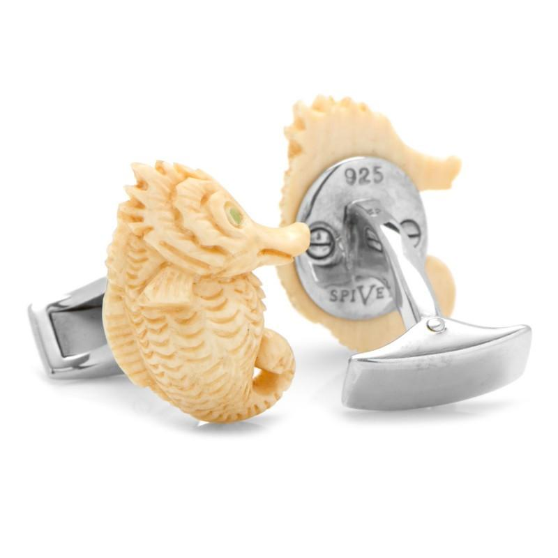 Woolly Mammoth Tusk Sea Horse with Emerald Eyes Cufflinks,CUFFLINKS,GentRow.com, | GentRow.com
