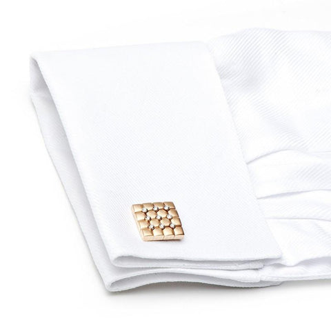 18K Rose Gold Diamond Quilted Cufflinks