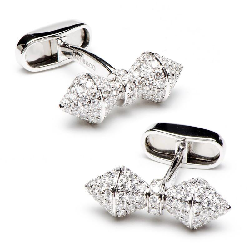 18K White Gold Diamond Barbell Cufflinks,CUFFLINKS,Jacob & Co, | GentRow.com