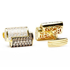 2-Tone Diamond Interlocked Cufflinks,CUFFLINKS,Jacob & Co, | GentRow.com