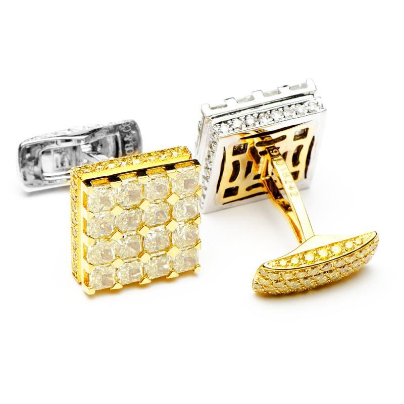 2-Tone Left and Right Diamond Cufflinks,CUFFLINKS,Jacob & Co, | GentRow.com