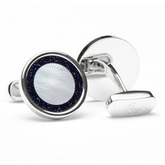 Black Agate & Mother of Pearl Halo Cufflinks,CUFFLINKS,Jacob & Co, | GentRow.com