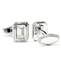 9.5 Carat Emerald Cut White Diamonds Octagon Cufflinks,CUFFLINKS,Jacob & Co, | GentRow.com