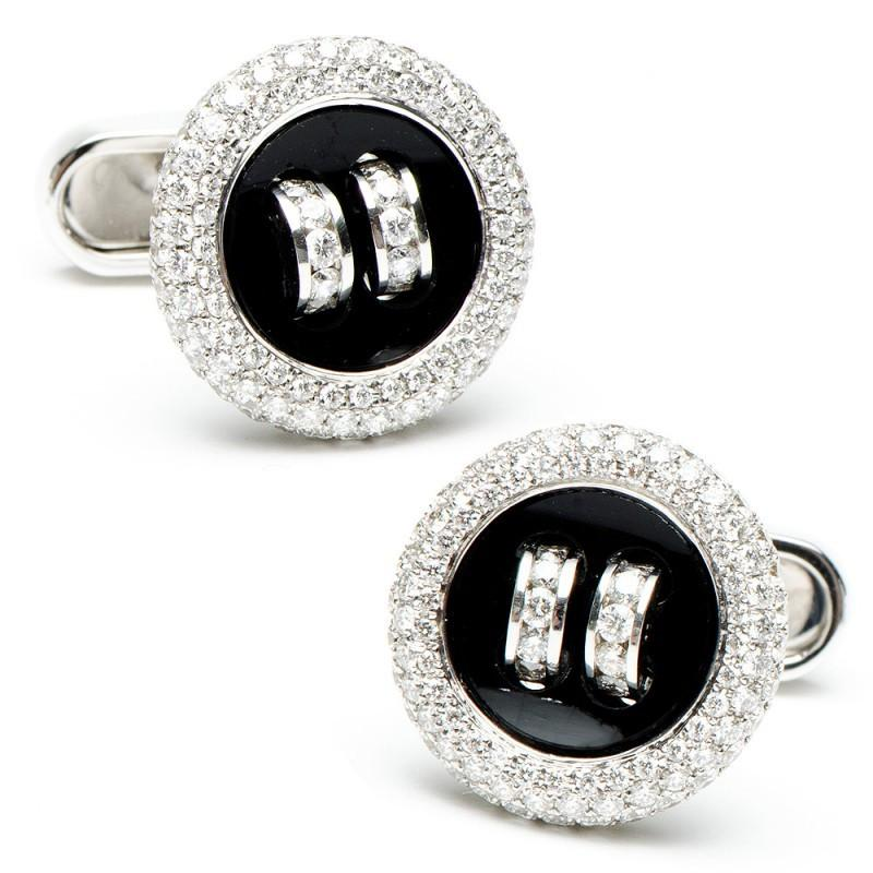 Diamond Button Cufflinks,CUFFLINKS,Jacob & Co, | GentRow.com