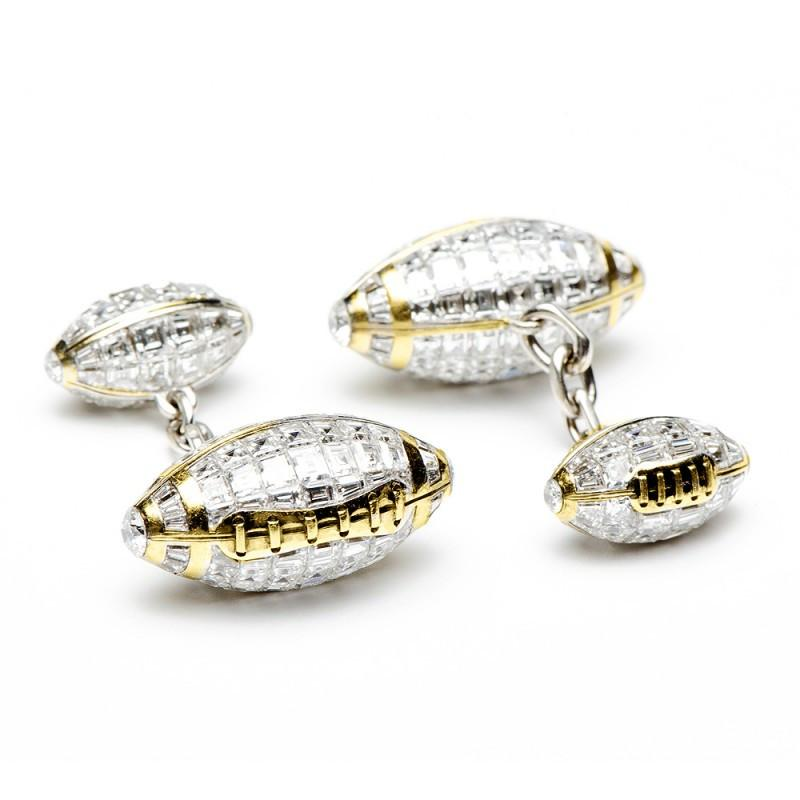 Baguette Diamond Double Ended Football Cufflinks,CUFFLINKS,Jacob & Co, | GentRow.com