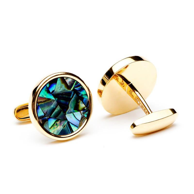 Round 18K Rose Gold Abalone Mosaic Cufflinks,CUFFLINKS,Jacob & Co, | GentRow.com