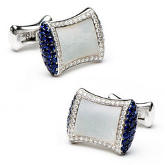 Sapphire & Diamond Mother of Pearl Pillow Cufflinks,CUFFLINKS,Jacob & Co, | GentRow.com