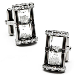 Gunmetal Diamond Hourglass Cufflinks,CUFFLINKS,Jacob & Co, | GentRow.com