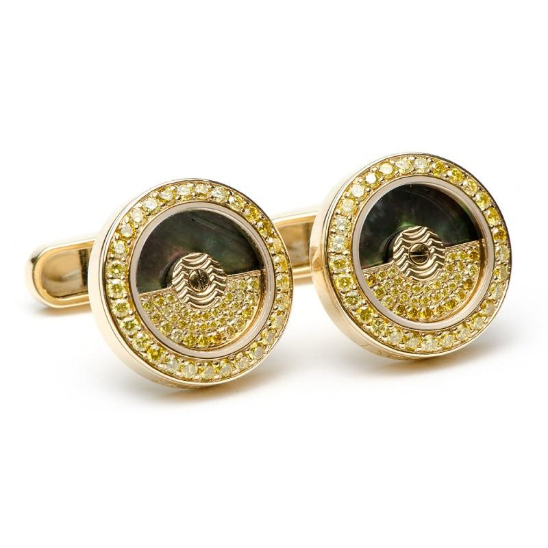 18K Gold & Canary Diamonds Rotor Cufflinks,CUFFLINKS,Jacob & Co, | GentRow.com