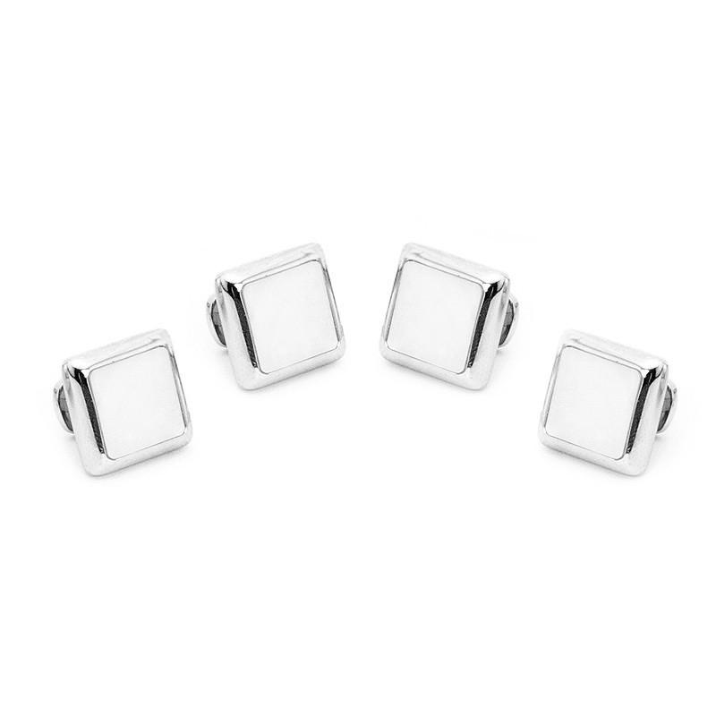 Silver and Mother of Pearl JFK Presidential Studs,Stud Sets,GentRow.com, | GentRow.com