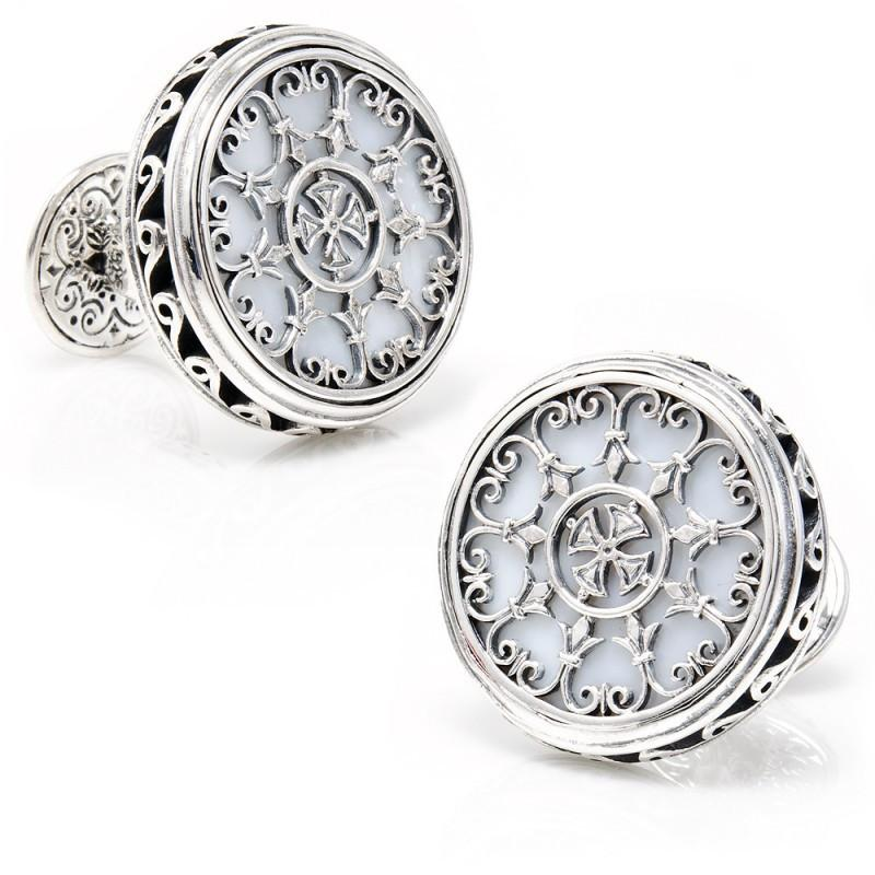 Sterling Round Scroll with Mother of Pearl Cufflinks,CUFFLINKS,GentRow.com, | GentRow.com