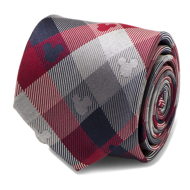Mickey Mouse Red and Blue Plaid Men's Tie,TIE,GentRow.com, | GentRow.com